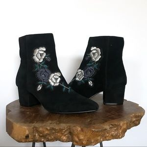 Steven Brooker Suede Embroidered Ankle Boot size 6